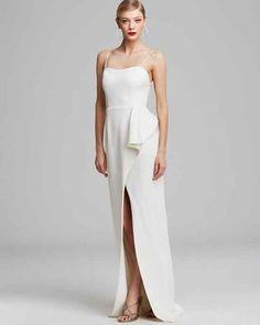 Black Halo Cascade Ruffle Gown, $575