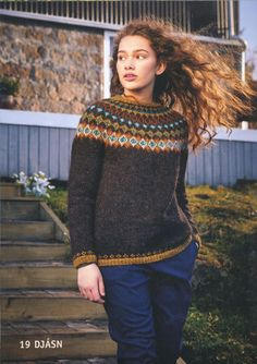 Ravelry: Djásn pattern by Hildur Ýr Ísberg Nordic Pullover, Handgestrickte Pullover, Nordic Sweater, Icelandic Sweaters, Wool Sweaters, Fair Isle Pullover, Fair Isle Knitting Patterns, Androgynous Fashion, Knit Beanie Hat