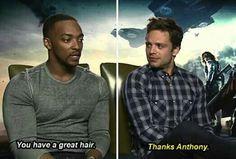 Anthony: You have great hair - Sebastian: Thanks Anthony.