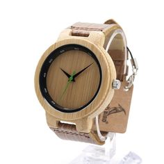 BOBO BIRD Bamboo Retro Quartz Wristwatch for Men with Leather Strap