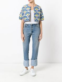 P.A.R.O.S.H. repeated pattern short-sleeve crop jacket