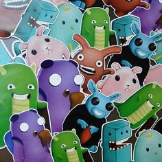 Set of 6 Illustrated Funny and Cute Creature by kritureart on Etsy,  #stickers. Visit www.kriture.com to read stories and #free #wallpapers