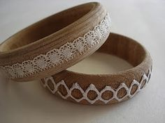 cool bangles....what if I even made my own lace?  I totally could...too bad I'm not also able to turn the bracelets and carve them out of a tree I grew myself....