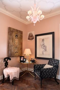 Pale pink. This is the perfect pink to use when you want to create a feeling of calm and elegance in a space.    Paint pick: Quaint Peche 6330 by Sherwin Williams