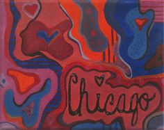 CHICAGO oil painting aBsTRact art wall decoration by heartChicago, $50.00  WWW.ETSY.COM/SHOP/HEARTCHICAGO