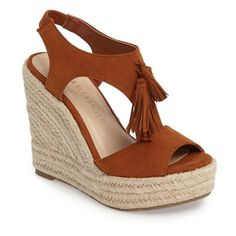 Women's Athena Alexander Jenissa Wedge Espradrille Sandal ($73) ❤ liked on Polyvore featuring shoes, sandals, tan faux suede, tan wedge shoes, wedge heel shoes, wedge shoes, athena alexander sandals and espadrilles shoes