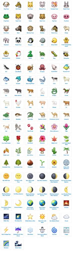 emoji icon list nature and animals with meanings and definitions