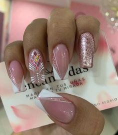 Manicure Nail Designs, Nail Manicure, Nail Art Designs, Gel Nails, Cute Nails, Pretty Nails, Magic Nails, Lines On Nails, Ballerina Nails