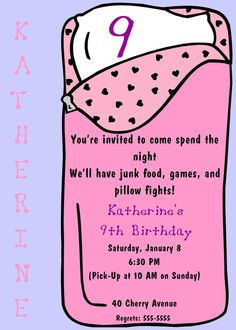 Sleepover birthday party invitation or Slumber party birthday