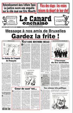 """""""""""Gardez la frite"""", titre en Une le journal @canardenchaine à l'intention des amis belges #Bruxelles"""""""