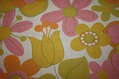 Bold Mod Flowers  Vintage Fabric  Fat Quarter  by ClothandCraft, $4.00