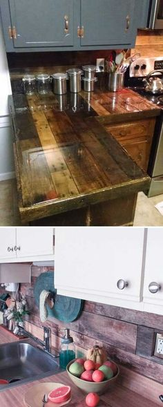 As a really common recycled material, wooden pallet you might have used them to make something useful for your home. You know they have endless potential can be transformed to a lot of stunning DIY projects serve for home. So when I saw something creative Ranch Kitchen Remodel, Ikea Kitchen Remodel, Apartment Kitchen, Wooden Pallet Projects, Wooden Pallets, Diy Projects, Diy Kitchen Projects, Old Pallets, Pallet Wood