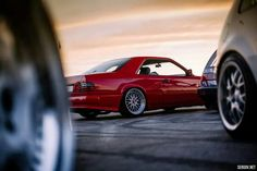 "Mercedes w124, ferrari red , bbs LM 19""  8.5/9.5 . Wrapped by stance.lv"