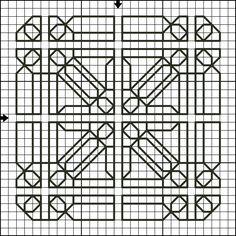 Free Backstitch Motif Patterns - Free Printable Back Stitch Charts: Free Backstitch Motif Pattern Seventeen - Free Printable Back Stitch Chart