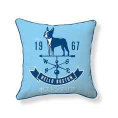 Decorate your home with a Hello Boston Weathervane Pillow #dogccessories #dogccessorize | Dogccessories.com