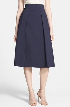 Free shipping and returns on Harlowe and Graham Pleated A-Line Midi Skirt at Nordstrom.com. Crisp box pleats, an ultraslim high waistline and A-line frame craft this finely tailored midi skirt with extra-refined mid-century lines.