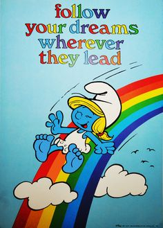 Smurfette on rainbow. My sister had this poster and I wanted it so badly. Classic Cartoon Characters, Favorite Cartoon Character, Classic Cartoons, Cartoon Pics, Comic Character, 1980 Cartoons, Disney Cartoons, Smurf Village, Childhood Characters
