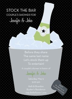 Split of Champagne Black Stock the Bar Invitation by Noteworthy Collections - Invitation Box Wedding Planning Boards, Party Planning, Shower Invitations, Wedding Invitations, Bridesmaid Duties, Let's Get Married, Party Themes, Party Ideas, Couple Shower