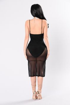 Available in Black Mesh Dress Spaghetti Straps Front Zipper Detail Bodysuit Lining Made in USA 90% Nylon 10% Spandex