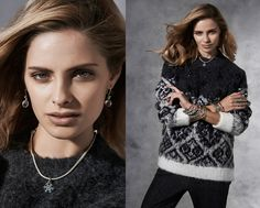 It is cold out side, but we are keeping warm in this sweater from h&m #PANDORAstyle #PANDORAnecklace #bangles
