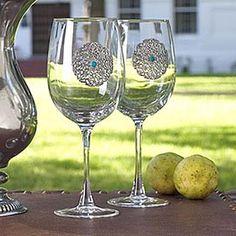 Entertain guests in style with wine goblets accented by pierced pewter concho and faux turquoise enamel stone. The Ranch, King Ranch, Southwest Decor, Western Decor, Western Style, Wine Glass Set, Lodge Decor, Wine Goblets, Wine Bottle Crafts