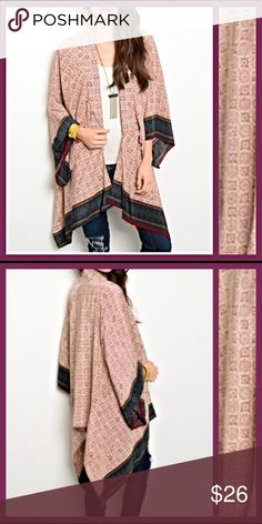 "Luxurious Wine & Tan Tribal Kimomo S/M You will love wrapping yourself in this soft Wine, Tan & Blue Kimono.  Tribal pattern with gorgeous contrast trim details. Pair with tank or long sleeves with your favorite shorts, capris, leggings or jeans. 100% Polyester.  Length 38"" Sweaters Shrugs & Ponchos"
