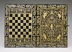 Game Board for Chess and Backgammon. c. 1615-1620. German. Workshop of Ulrich Baumgartner. Ebony with ivory and bone inlays on oak substrate. Open: 19 1/2 x 28 x 1 1/8 inches (49.5 x 71.1 x 2.9 cm) Closed: 19 1/2 x 14 x 2 1/4 inches (49.5 x 35.6 x 5.7 cm)