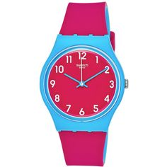Swatch Women's Swiss Sport Mixer Pink and Blue Double-Layer Silicone... (787.800 IDR) ❤ liked on Polyvore featuring jewelry, watches, pink, sport wrist watch, pink watches, blue watches, sports watches and silicone strap watches