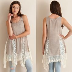 """""""Solitaire"""" Lace Accent Tunic Tank Top Tunic tank top with white lace accents. Available in sand and powder blue. This listing is for the SAND. Brand new. Runs slightly loose. NO TRADES. PRICE FIRM. Bare Anthology Tops Tank Tops"""