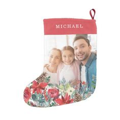 Elegant family seasonal rustic monogrammed PHOTO Small Christmas Stocking