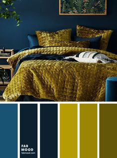 Bedroom color scheme ideas will help you to add harmonious shades to your home which give variety and feelings of calm. From beautiful wall colors to eye-catching furnishings these bedroom room color schemes will take your space to your next level. Blue And Gold Bedroom, Blue Green Bedrooms, Navy Bedrooms, Bedroom Green, Blue And Yellow Bedding, Mustard And Grey Bedroom, Dark Blue Bedroom Walls, Bedroom Decor Dark, Bedroom Ideas
