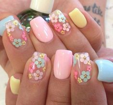 Nail art is one of many ways to boost your style. Try something different for each of your nails will surprise you. You do not have to use acrylic nail designs to have nail art on them. Here are several nail art ideas you need in spring! Easter Nail Designs, Colorful Nail Designs, Nail Designs Spring, Cute Nail Designs, Pretty Designs, Flower Nail Designs, Beautiful Nail Designs, Nails With Flower Design, Coral Nails With Design