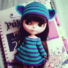 Carleesi - crocheted Cheshire-inspired set: hat + dress