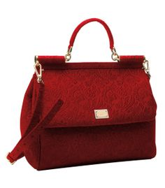 One of our FAVORITE bags on #ShopBAZAAR right now! @Jennifer Souza & Gabbana Miss Siciliy Red Brocade Top Handle Bag