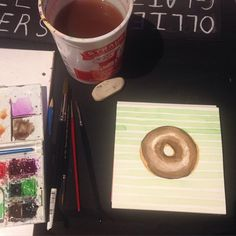 111 Minna has Sketch Tuesdays one week  every month. You paint there, and then put your work up on a wall and sell it. Good times, this was my first for a night of 6 donut watercolor paintings.