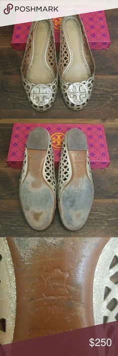 Tory Burch flats size 10 Hey guys, I am selling my Tory Burch flats along with other shoes because I gained a site in shoes. They are platinum/ bronzish colored and absolutely gorgeous in summer! I always receive so many compliments with them! They go with everything and come in their original box (purchased in Germany) and their duster that's never been used. Tory Burch Shoes Flats & Loafers