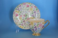 Shelley Countryside Tea Cup and Saucer Gold Trim