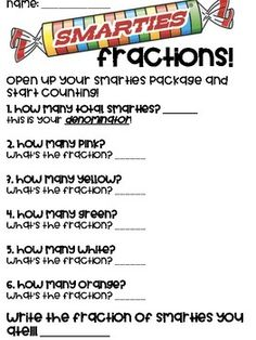 Smarties Fraction Activity by Mrs Chandlers Grade 4th Grade Fractions, Teaching Fractions, Fourth Grade Math, Teaching Math, Dividing Fractions, Equivalent Fractions, Multiplication, Multiplying Fractions, Fraction Activities