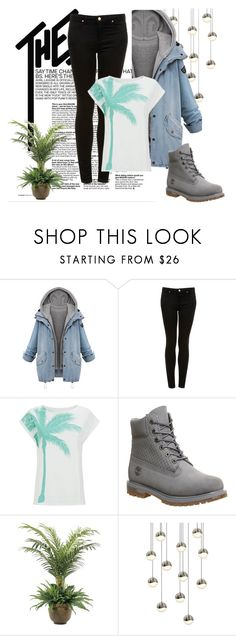 """Palm Tree Top"" by thesecretfightersoffashion ❤ liked on Polyvore featuring Topshop, Timberland, NDI and Sonneman"
