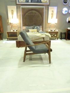 fabric and leather danish chair made in walnut wood, $1,900