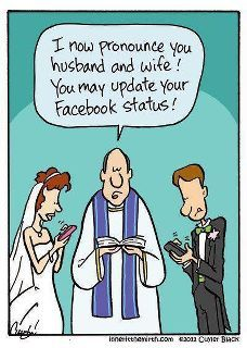 haha, i actually saw a wedding that did this!! the whole bridal party whipped out their phones and posted a status while the bride and groom changed their status to Married!