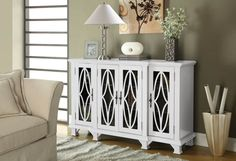 Coaster Furniture White Wood Doors Accent Cabinet