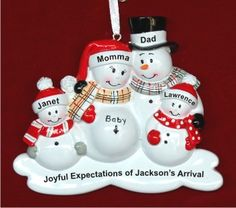 Baby's First We're Expecting 3rd Child Personalized Christmas Ornament