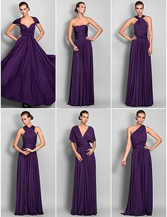 Formal Evening / Military Ball Dress - Convertible Dress A-line One Shoulder / Strapless / V-neck Floor-length Jersey with 2016 - R$308.57
