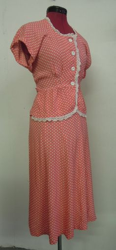 Perfect 1940s rayon pink polka dot skirt and top suit by commissar, $125.00