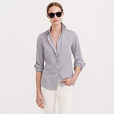 Boy shirt in stripe poplin; need PS for body length. Like that it's fitted, for a layered look or with a pencil skirt.