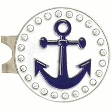 This Bling Anchor ball marker comes with a standard hat clip.