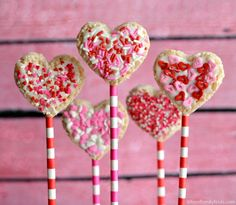 Heart Shaped Rice Krispies Treat Pops for Valentine's Day