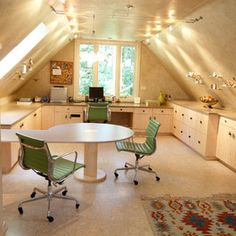 Attic Addition Design by Jaque Bethke.  This is a great way to solve the low side wall problem, and you get a great work area all around.