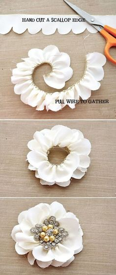 Simple t-shirt flower tutorial.Simple t-shirt flower tutorial. This will go beautifully on the DIY t-shirt headband!DIY Scalloped Edge Flowers - so cool! Ribbon Crafts, Flower Crafts, Fabric Crafts, Diy Crafts, Ribbon Diy, Felt Flowers, Diy Flowers, Paper Flowers, Wedding Flowers